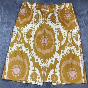 J crew pencil skirt yellow linen size 4